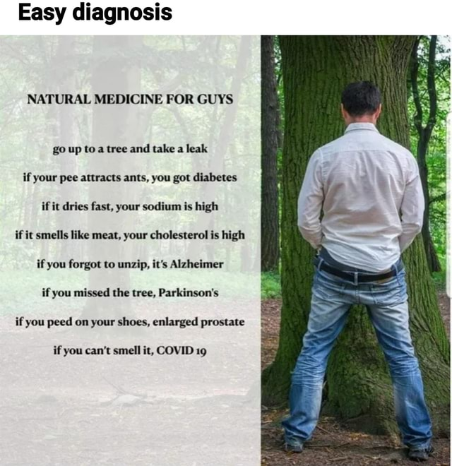 Easy diagnosis NATURAL MEDICINE FOR GUYS go up to tree and take a leak if your pee attracts ants, you got diabetes if it dries fast, your sodium is high if it smells like meat, your cholesterol is high if you forgot to unzip, it's Alzheimer if you missed the tree, Parkinson's if you peed on your shoes, enlarged prostate if you can not smell it, COVID 19 meme