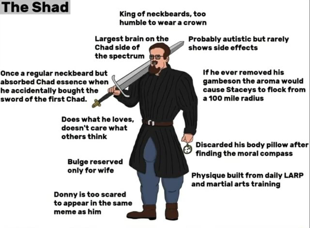The Shad King of neckbeards, too humble to wear crown Largest brain on the Chad side of the spectrum Probably autistic but rarely shows side effects If he ever removed his gambeson the aroma would cause Staceys to flock from a100 mile radius Once a regular neckbeard but absorbed Chad essence when he accidentally bought the sword of the first Chad. Does what he loves, doesn't care what others think Discarded his body pillow after finding the moral compass Bulge reserved only for wits Physique built from daily LARP and martial arts training Donny is too scared to appear in the same meme as him