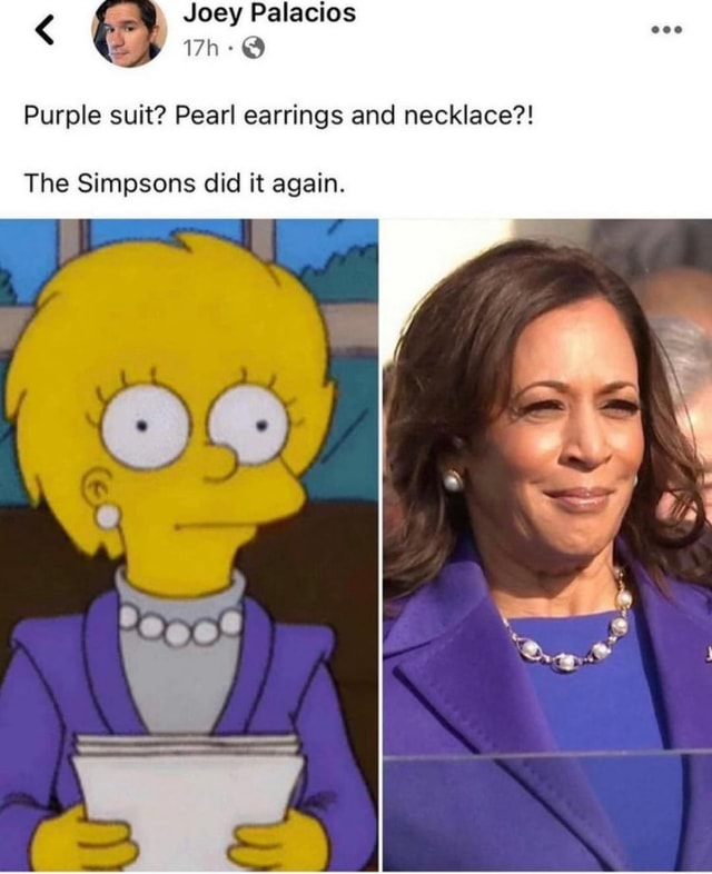 Joey Palacios Purple suit Pearl earrings and necklace The Simpsons did it again memes