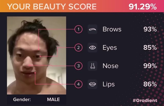 YOUR BEAUTY SCORE 91.29% Brows 93% Eyes 85% Nose 99% Lips 86% Gender MALE Gradient memes