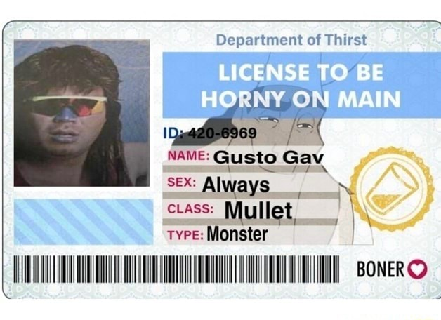 Department of Thirst LICENSE TO BE MAIN NAME Gusto Gav SEX Always ON CLASS ullet TYPE Monster BONERO memes
