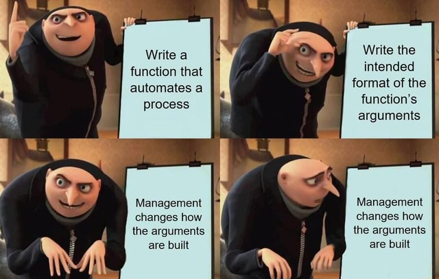 Write a Write the function that intended automates a format of the process function's arguments Management Management II changes how changes how the arguments the arguments are built are built memes