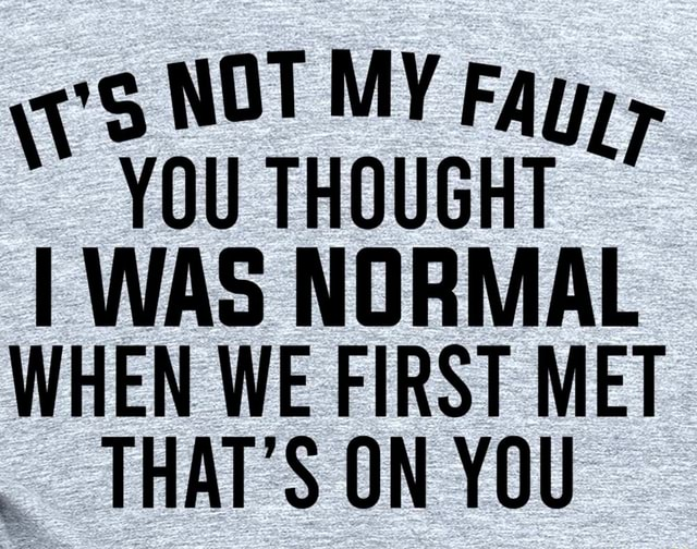 NOT MY Fayy YOU THOUGHT I WAS NORMAL WHEN WE FIRST MET THAT'S ON YOU memes