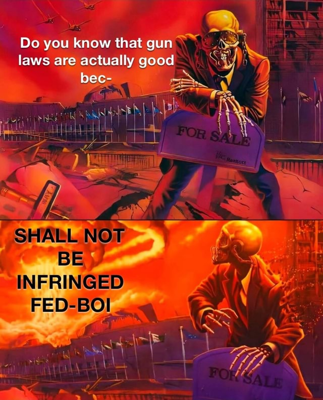Do you know that gun laws are actually good bec SHALL NOT INFRINGED FED BOI memes