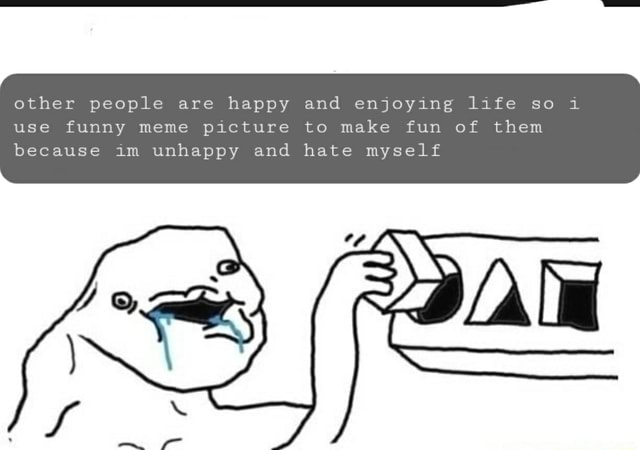 Other people are happy and enjoying life so use funny meme picture to make fun of them because im unhappy and hate myself