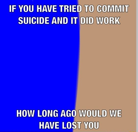 IF YOU HAVE TRIED TO COMMIT SUICIDE AND IT DID WORK HOW LONG AGO WOULD WE HAVE LOST YOU meme