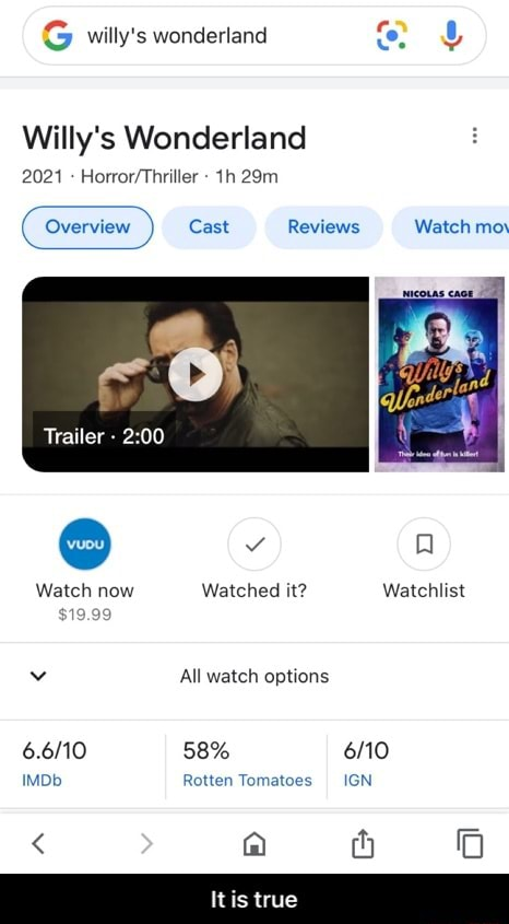 G willy's wonderland Willy's Wonderland Overview Cast Reviews Watch mo Trailer    Watch now Watched it Watchlist $19.99 All watch options 58% IMDb Rotten Tomatoes IGN  a true  It is true meme