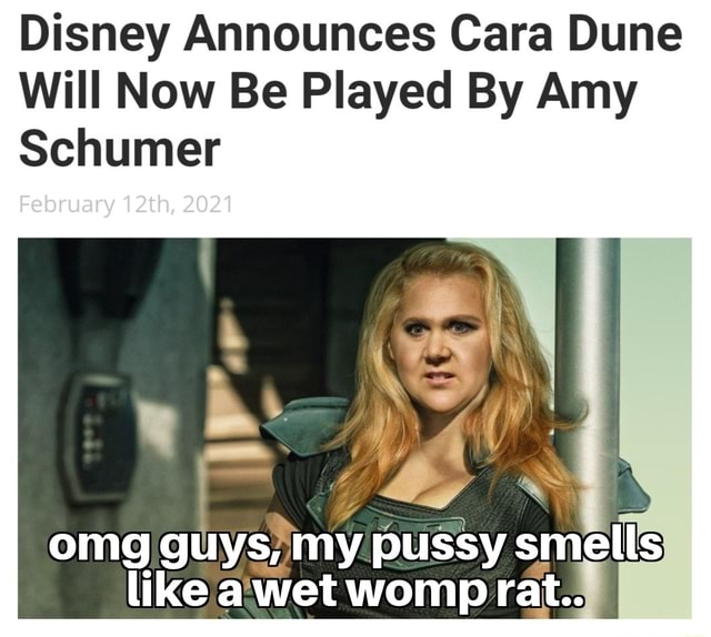 Disney Announces Cara Dune Will Now Be Played By Amy Schumer February 12th, 2021 omg guys, my pussy smells like a wet wonpp rat meme