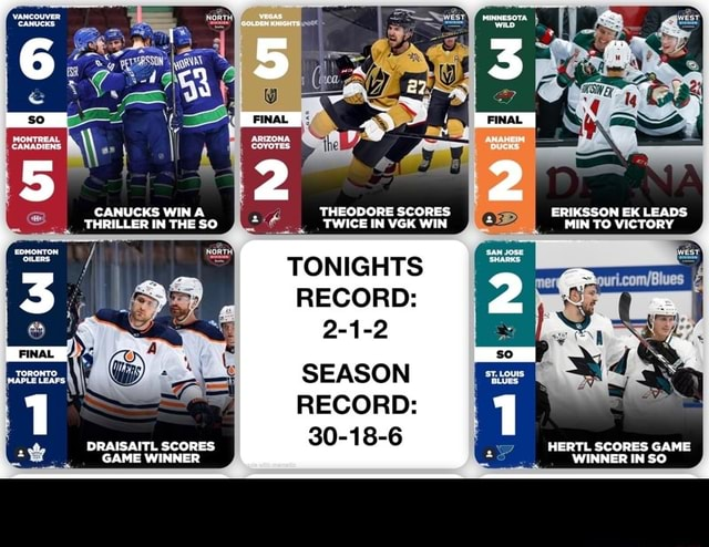 CANUCKS WIN THRILLER IN THE SO DRAISAITL SCORES GAME WINMER THEODORE SCORES TWICE IN VGK WIN TONIGHTS RECORD 2 1 2 SEASON RECORD 30 18 6 2 1 ERIKSSON EK LEADS MIN TO VICTORY HERTL SCORES GAME WINNER IN SO. memes