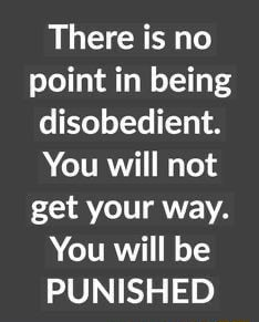 There is no point in being disobedient. You will not get your way. You will be PUNISHED meme