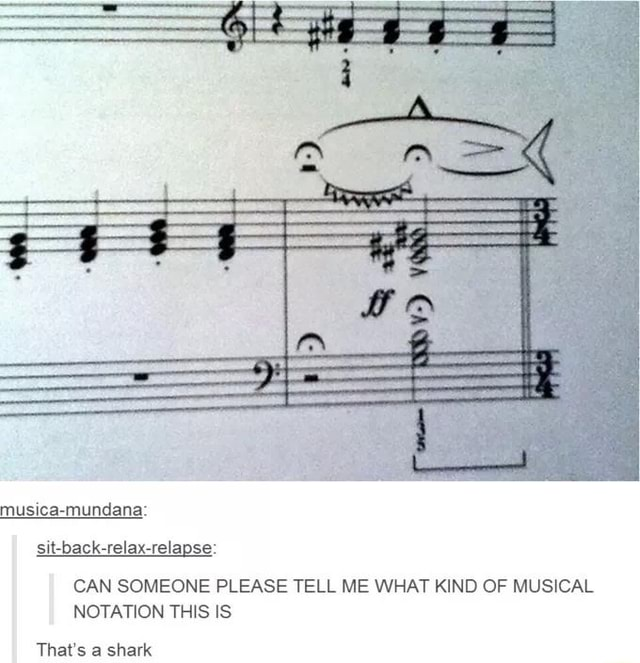 Musica mundana sit back relax relapse CAN SOMEONE PLEASE TELL ME WHAT KIND OF MUSICAL NOTATION THIS IS That's a shark memes