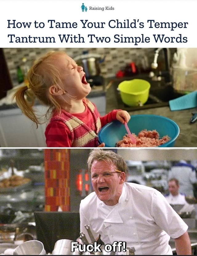 Raising Kids How to Tame Your Child's Temper Tantrum With Two Simple Words ff meme