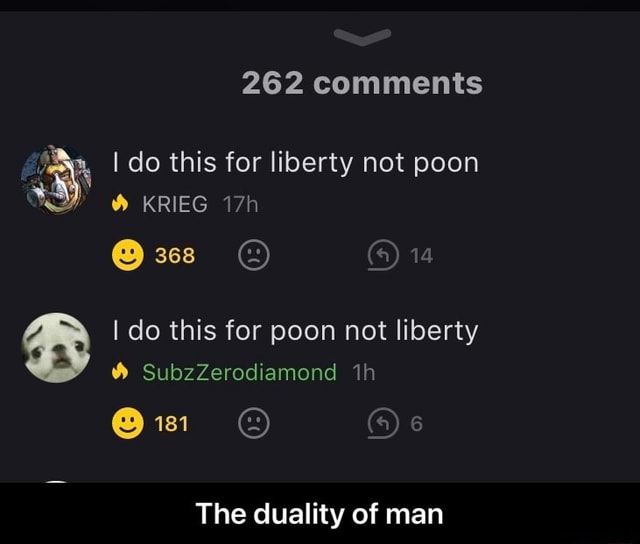 262 comments I do this for liberty not poon 368 14 KRIEG I do this for poon not liberty SubzZerodiamond The duality of man The duality of man memes