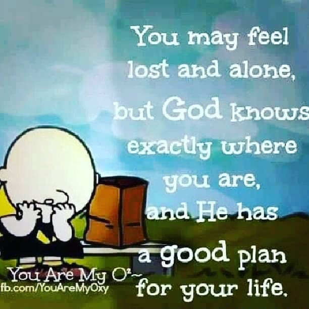 You may feel lost and alone, but God knows exacthy where. you are and He has Are a good plan for your life memes