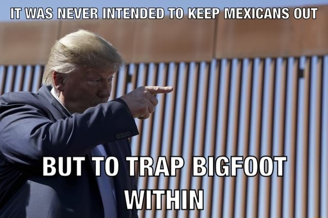 IT WAS NEVER INTENDED TO KEEP MEXICANS OUT BUT TO TRAP BIGFOOT WITHIN meme