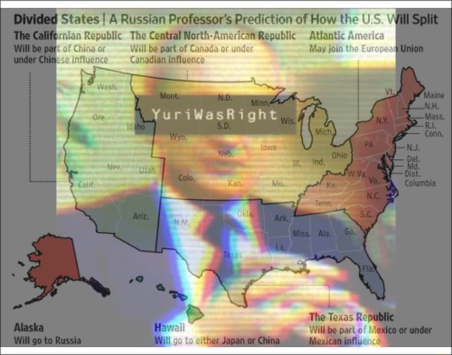 Divided States I A Russian Professor's Prediction of How the US The rnian Republic The Central North American Republic Atlantic Aw ina oF Will be part of Canad ide May joi Canadian influence as The to memes