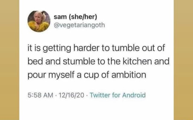 Sam shefher  vegetariangoth it is getting harder to tumble out of bed and stumble to the kitchen and pour myself a cup of ambition AM   Twitter for Android memes