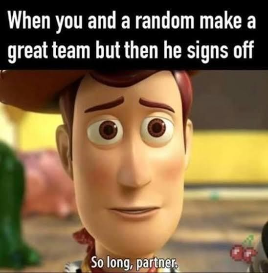 When you and a random make a great team but then he signs off Ga memes