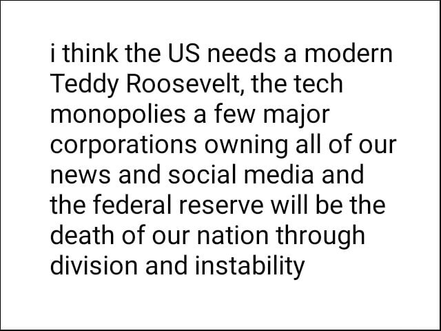 I think the US needs a modern Teddy Roosevelt, the tech monopolies a few major corporations owning all of our news and social media and the federal reserve will be the death of our nation through division and instability memes