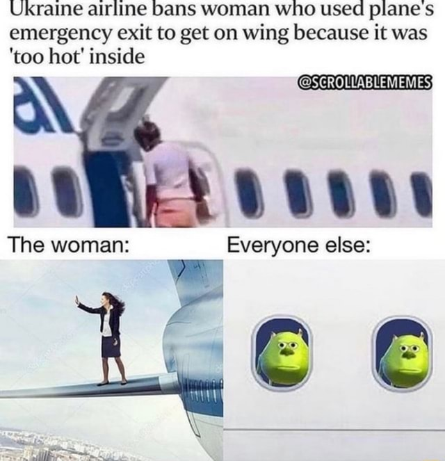 Ukraine airline bans woman who used plane s emergency exit to get on wing because it was too hot inside The woman Everyone else memes