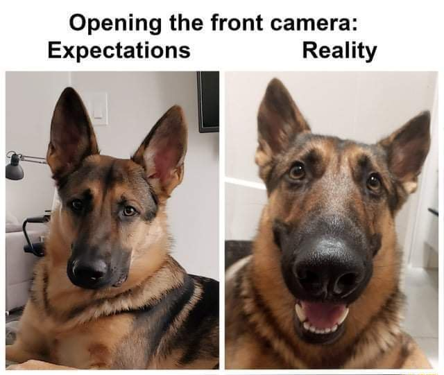 Expectations v Reality Opening the front camera Expectations Reality memes