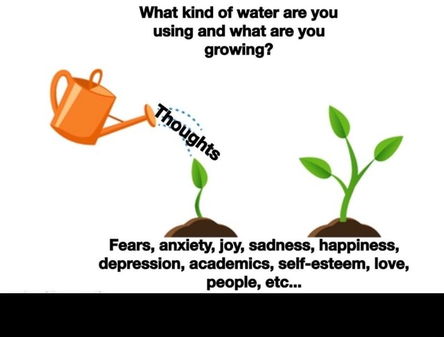 What kind of water are you using and what are you growing Gs, g Fears, anxiety, joy, sadness, happiness, depression, academics, self esteem, love, people, etc meme