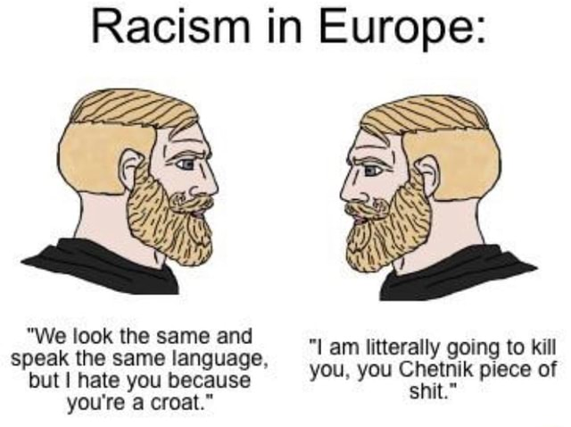 Racism in Europe We look the same and speak the same language, but hate you because you're a croat. am litterally going to kill you, you Chetnik piece of shit. memes