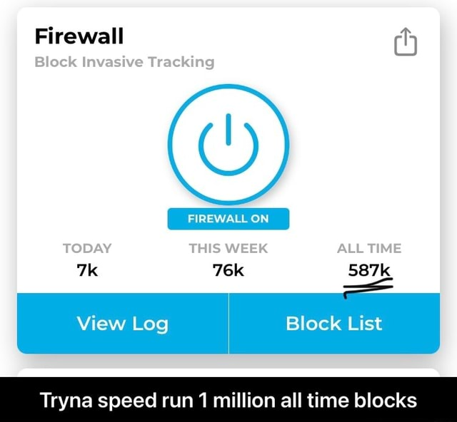 Firewall Block Invasive Tracking FIREWALL ON TODAY WEEK AUL TIME 587k View Log Block List Tryna speed run 1 million all time blocks Tryna speed run 1 million all time blocks memes