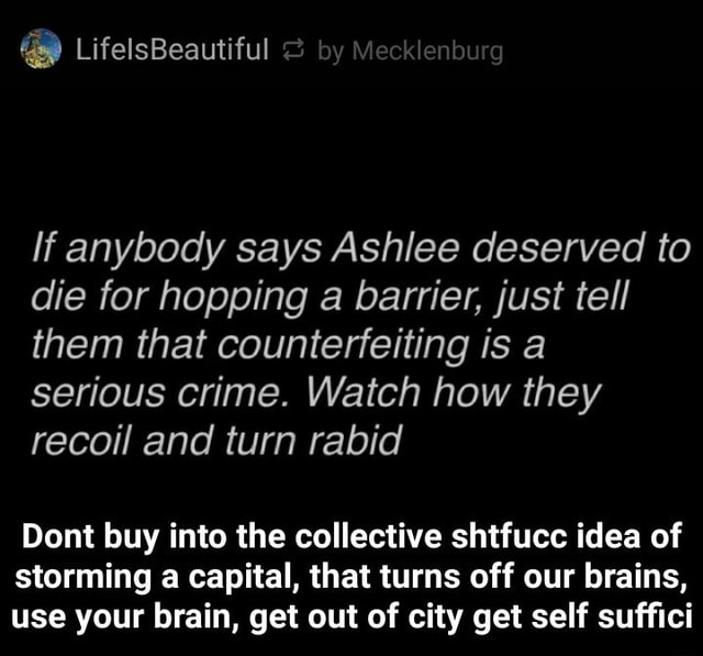 LifelsBeautiful If anybody says Ashlee deserved to die for hopping a barrier, just tell them that counterfeiting is a serious crime. Watch how they recoil and turn rabid Dont buy into the collective shtfucc idea of storming a capital, that turns off our brains, use your brain, get out of city get self suffici Dont buy into the collective shtfucc idea of storming a capital, that turns off our brains, use your brain, get out of city get self suffici memes
