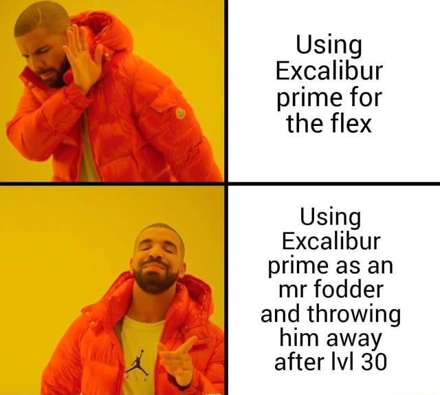 Using Excalibur prime for  the flex Using Excalibur wy prime mr as an fodder mr fodder and throwing him away A after lvl 30 memes