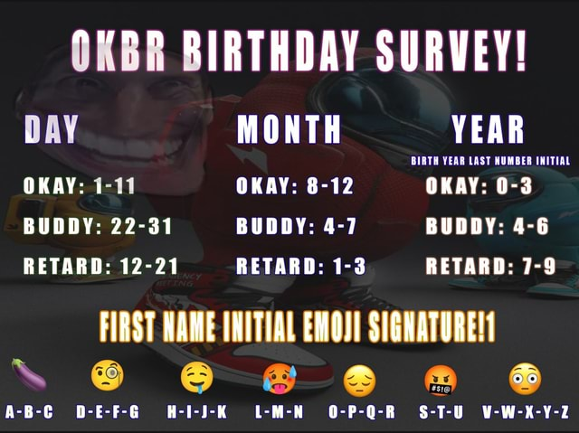OKBR BIRTHDAY SURVEY DAY MONTH YEAR BIRTH YEAR LAST NUMBER INITIAL OKAY 1 11 OKAY 8 12 OKAY 0 3 BUDDY 22 31 BUDDY 4 7 BUDDY 4 6 RETARD 12 21 RETARD 1 3 RETARD 7 9 FIRST NAME INITIAL EMOJI SIGNATURE A B C D E F G H I J K L M N O P Q R S T U V W K Y 2 memes