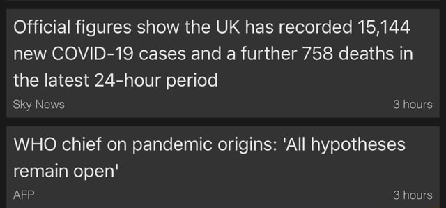 Official figures show the UK has recorded 15,144 new COVID 19 cases and a further 758 deaths in the latest 24 hour period Sky News 3 hours WHO chief on pandemic origins All hypotheses remain open 3 hours meme