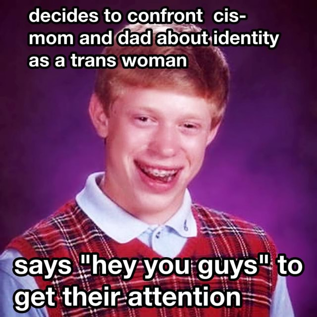 Decides to confront cis mom and dad about identity as a trans woman says hey you guys to get their attention memes