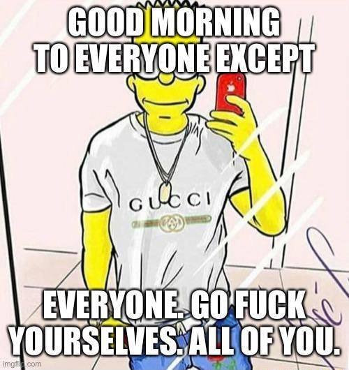 ,G00D MORNING VERVONE EXCEPT EVERVONE. coueK VOURSEIVES ALL OF YOU memes