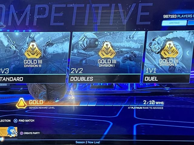 987193 PLAYERS AA NS GOLD GGLO {il GOLD DIVISION III DIVISION I OViSION TANDARD DOUBLES DUEL coo wins AT PLATINUM RANK TO ADVANCE coo LECTION FIND MATCH CREATE PARTY memes