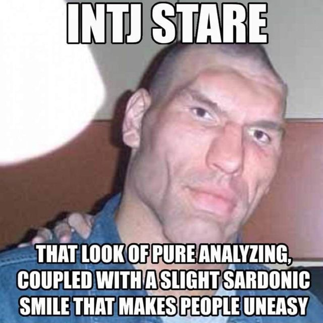INTJ STARE THAT LOOK OF PURE ANALYZING, COUPLED WITH A SLIGHT SARDONIC SMILE THAT MAKES PEOPLE UNEASY memes