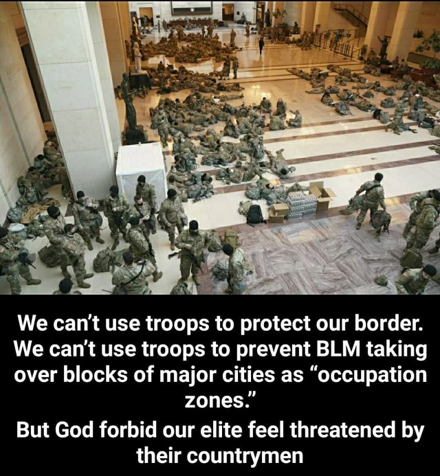 We can not use troops to protect our border. We can not use troops to prevent BLM taking over blocks of major cities as occupation zones. But God forbid our elite feel threatened by their countrymen But God forbid our elite feel threatened by their countrymen meme