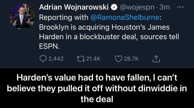 Adrian Wojnarowski wojespn Reporting with RamonaShelburne Brooklyn is acquiring Houston's James Harden in a blockbuster deal, sources tell ESPN. 28.7K 2,442 Harden's value had to have fallen, I can not believe they pulled it off without dinwiddie in the deal Harden's value had to have fallen, I can not believe they pulled it off without dinwiddie in the deal memes