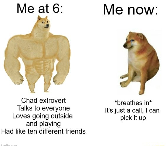 Me at 6 Me now Chad extrovert *breathes in* Talks to everyone It's just a call, can Loves going outside pick it up and playing Had like ten different friends memes