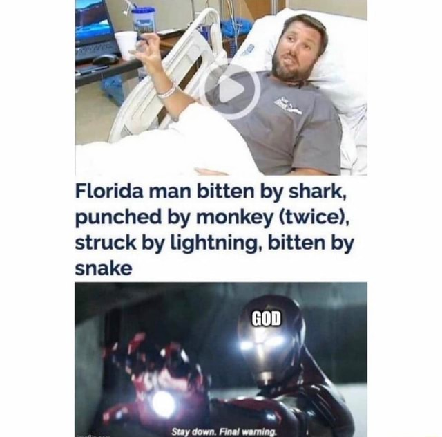 Go Florida man bitten by shark, punched by monkey twice , struck by lightning, bitten by snake meme