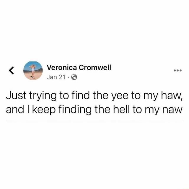 Veronica Cromwell Jan 21 Just trying to find the yee to my haw, and I keep finding the hell to my naw memes