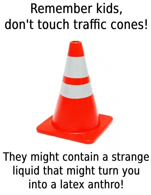 Remember kids, do not touch traffic cones They might contain a strange liquid that might turn you into a latex anthro memes