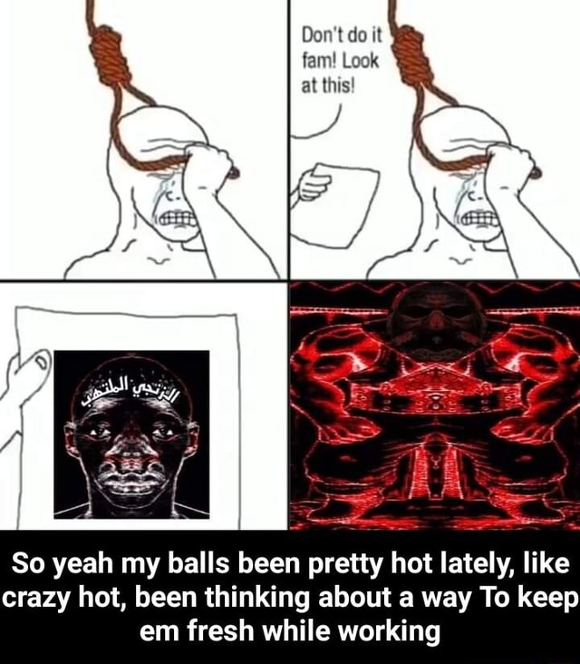 Do not do it fam Look at this So yeah my balls been pretty hot lately, like crazy hot, been thinking about a way To keep em fresh while working So yeah my balls been pretty hot lately, like crazy hot, been thinking about a way To keep em fresh while working memes