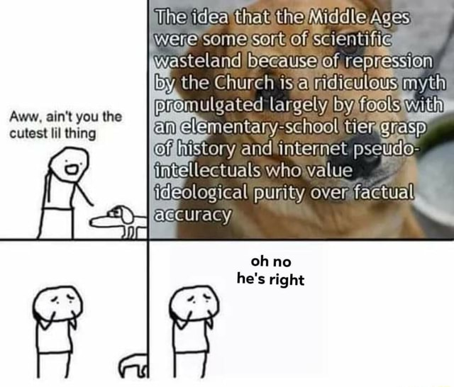 The idea that the Ages ,were some sort of scientific wasteland because of repression the Church a tier intemet pseudo ideological purity over factual Aww, ain't you the cutest lil thing oh no he's right meme
