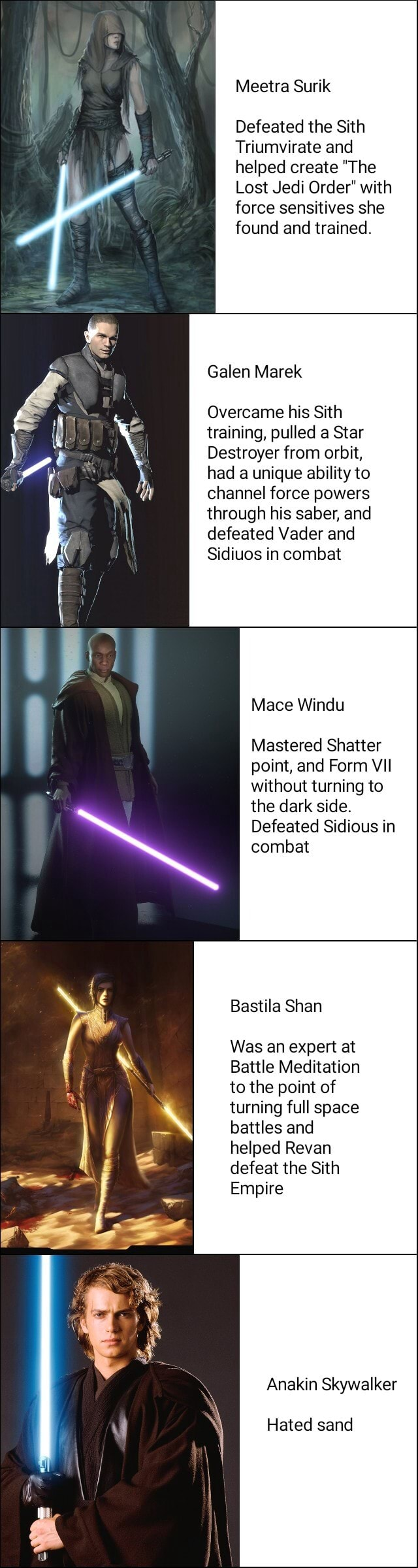 Meetra Surik Defeated the Sith Triumvirate and helped create The Lost Jedi Order with force sensitives she found and trained. Galen Marek Overcame his Sith training, pulled a Star Destroyer from orbit, had a unique ability to channel force powers through his saber, and defeated Vader and Sidiuos in combat Mace Windu Mastered Shatter point, and Form VII without turning to the dark side. Defeated Sidious in combat Bastila Shan Was an expert at Battle Meditation to the point of turning full space battles and helped Revan defeat the Sith Empire Anakin Skywalker Hated sand memes