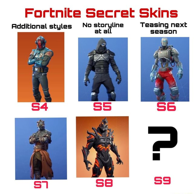 Fortnite Secret Skins Additional styles No storyline Teasing next at all season memes