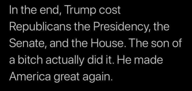 In the end, Trump cost Republicans the Presidency, the Senate, and the House. The son of a bitch actually did it. He made America great again meme