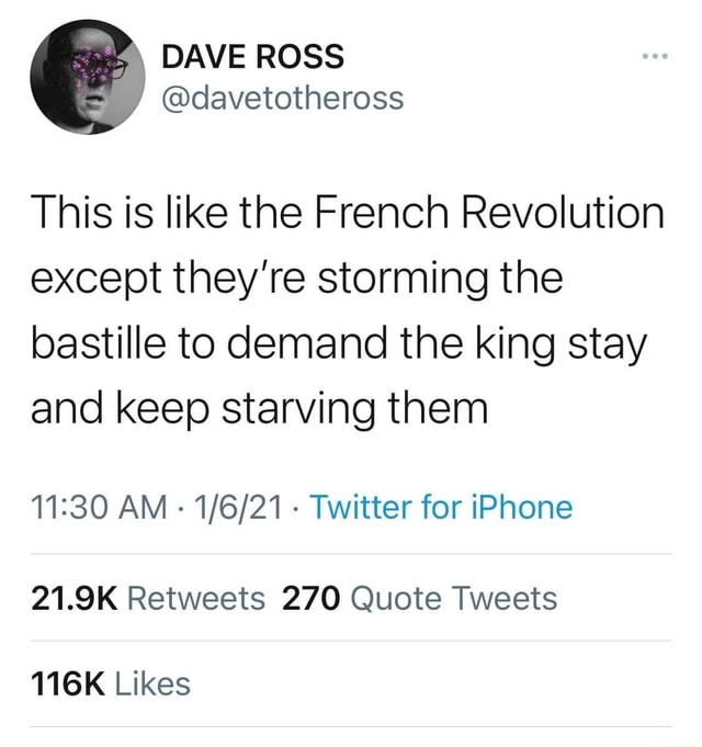 This is like the French Revolution except they're storming the bastille to demand the king stay and keep starving them AM Twitter for iPhone 21.9K Retweets 270 Quote Tweets 116K Likes memes