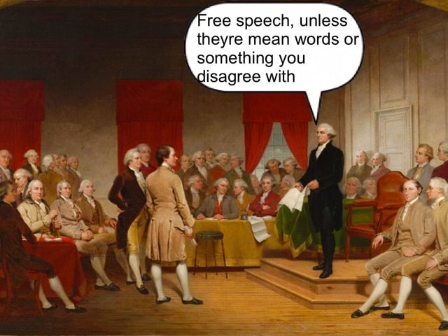 Ree speech, unless theyre mean words or something you disagree with memes