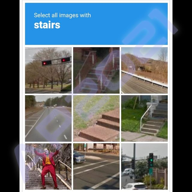 Stairs Select all images with memes